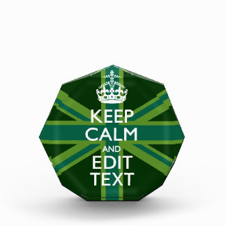 Green Teal Keep Calm And Get Your Text Union Jack Acrylic Award