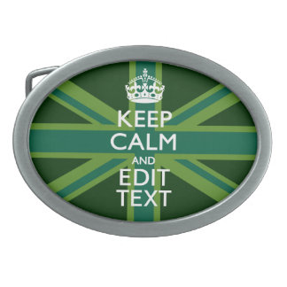 Green Teal Keep Calm And Get Your Text Union Jack Oval Belt Buckle