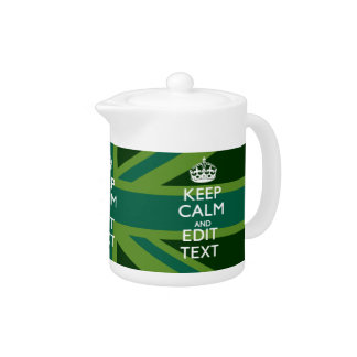 Green Teal Keep Calm And Get Your Text Union Jack Teapot