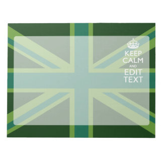 Green Teal Keep Calm And Have Your Text Union Jack Notepad