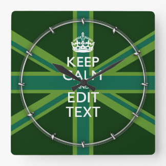 Green Teal Keep Calm And Have Your Text Union Jack Square Wall Clock