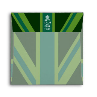 Green Teal Keep Calm And Your Text Union Jack Envelope