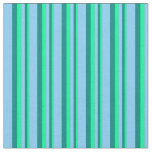[ Thumbnail: Green, Teal & Light Sky Blue Colored Pattern Fabric ]