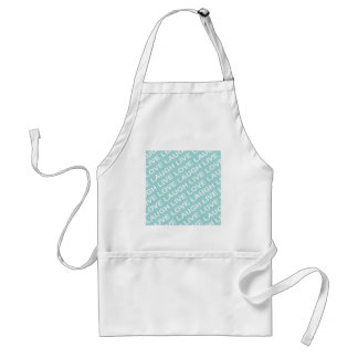 Green Teal Love Text Pattern Adult Apron
