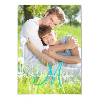 "Green Teal Monogram Names Simple Photo Wedding 5"" X 7"" Invitation Card"