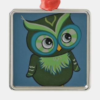 Green & Teal Owl Metal Ornament