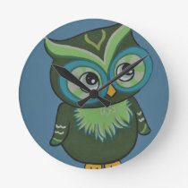 Green & Teal Owl Round Clock