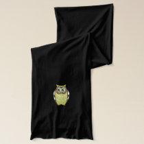 Green Teal  Retro Hooty Owls Scarf