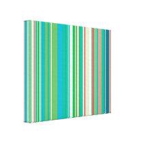 Green Teal Stripes Pattern Canvas Print