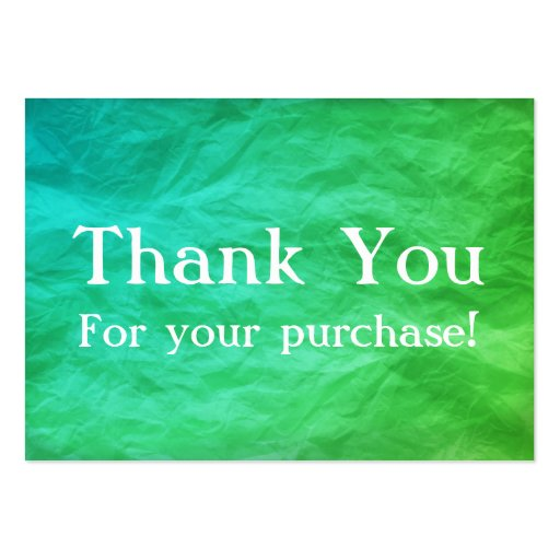 Green & Teal Thank You For your Purchase Cards