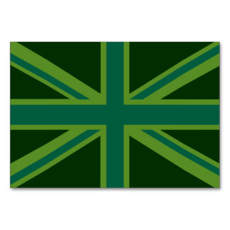Green Teal  Union Jack British Flag Background Table Cards