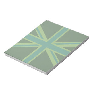 Green Teal Union Jack Flag Style Background Notepad