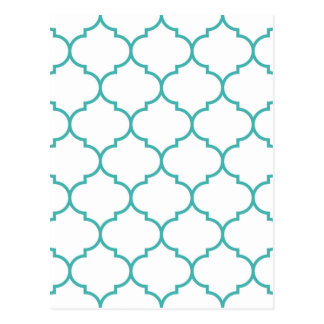 green,teal,white,morrocan,quatrefoil,pattern,trend postcard
