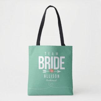 Green TEAM BRIDE Bridesmaid Wedding Tote