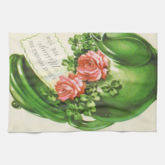 Green Teapot Rose Shamrock St Patrick's Day Kitchen Towel