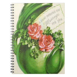 Green Teapot Rose Shamrock St Patrick's Day Spiral Notebook
