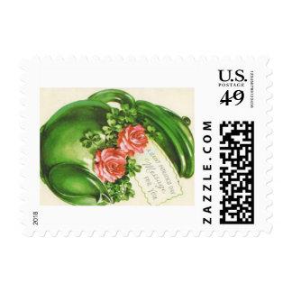Green Teapot Rose Shamrock St Patrick's Day Stamp