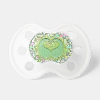 Green Teardrop Heart Over Pastel Mini Box Design Pacifier