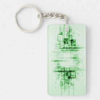 Green Tech Abstract Single-Sided Rectangular Acrylic Keychain