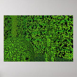 Green Techno Hiding Poster