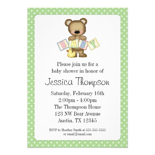green teddy bear blocks baby shower invitations 5 x 7 invitation