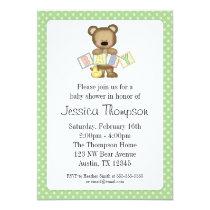 Green Teddy Bear Blocks Baby Shower Invitations