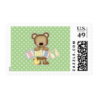 Green Teddy Bear Blocks Baby Shower Postage