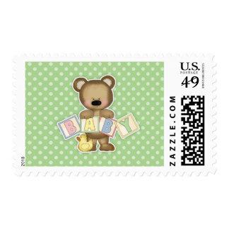Green Teddy Bear Blocks Baby Shower Postage