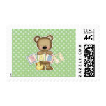 Green Teddy Bear Blocks Baby Shower Stamps