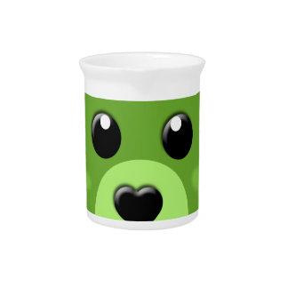 green teddy bear face drink pitcher