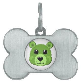 green teddy bear face pet name tag