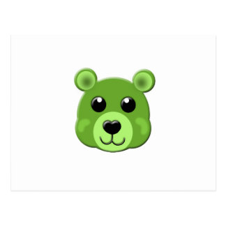 green teddy bear face postcard