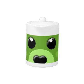 green teddy bear face teapot