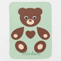 Green Teddy Bear Monogram Baby Blanket