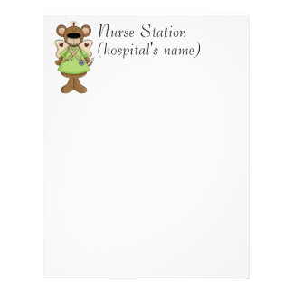 Green Teddy Bear Nurse Letterhead