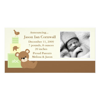 Green Teddy Bear Photo Birth Announcement