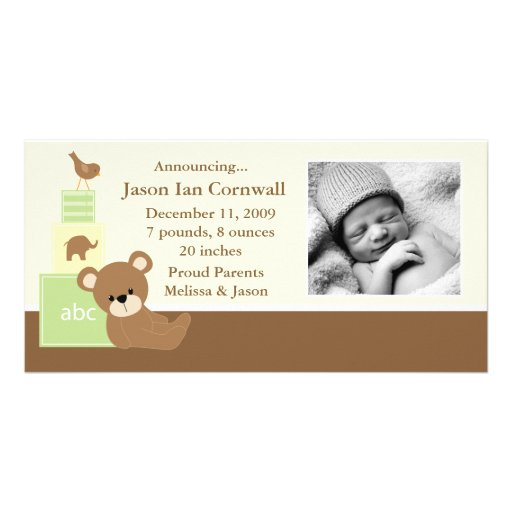 Green Teddy Bear Photo Birth Announcement Photo Card