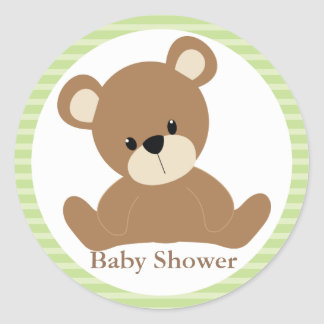 Green Teddy Bear Round Stickers