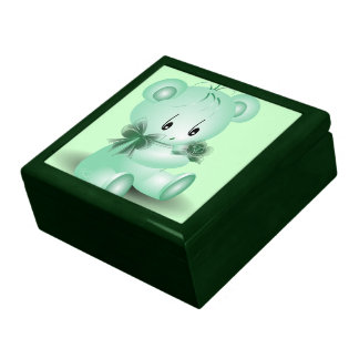Green Teddy Bear With Rose Gift Box
