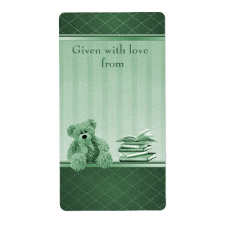 Green Teddy Bring a Book Baby Shower Bookplates Label