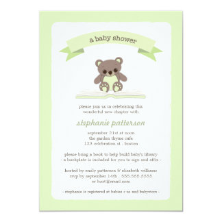 Green Teddy Bring a Book Baby Shower Invitation