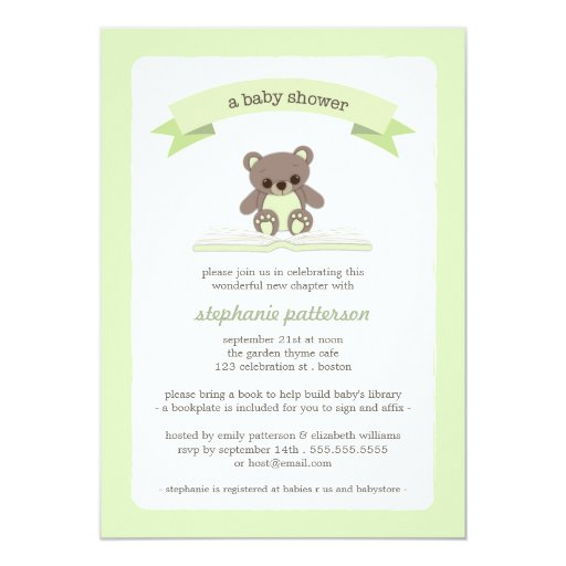 Green Teddy Bring a Book Baby Shower Invitation