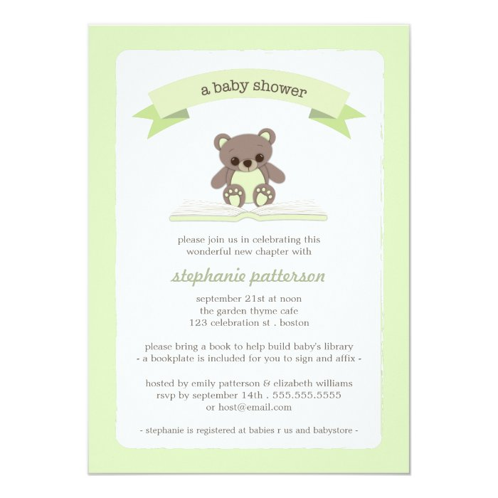 green teddy bring a book baby shower invitation zazzle