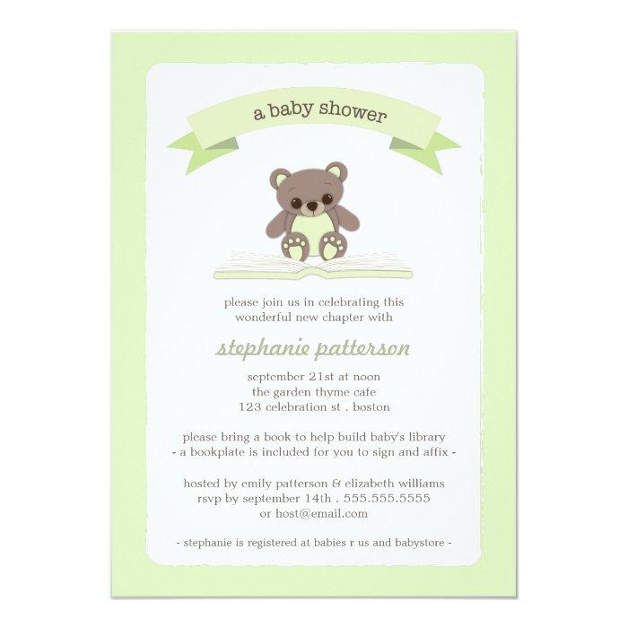 green teddy bring a book baby shower invitation zazzle