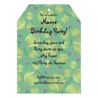 Green tennis balls rackets and nets personalized invitations