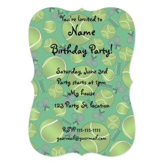 Green tennis balls rackets and nets custom invitations