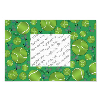 Green tennis balls rackets and nets photo print