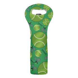 Green tennis balls rackets and nets wine bag
