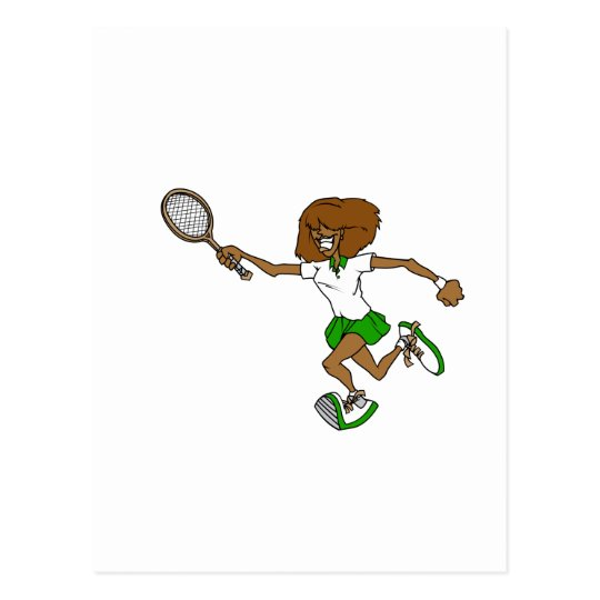 Green tennis girl postcard