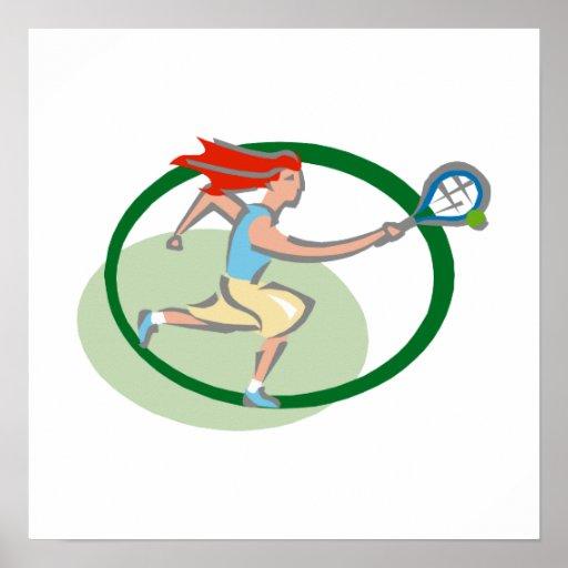 Green tennis girl poster